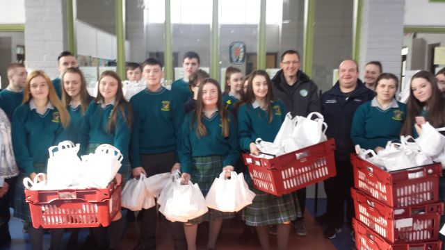 Donahies students with donated products