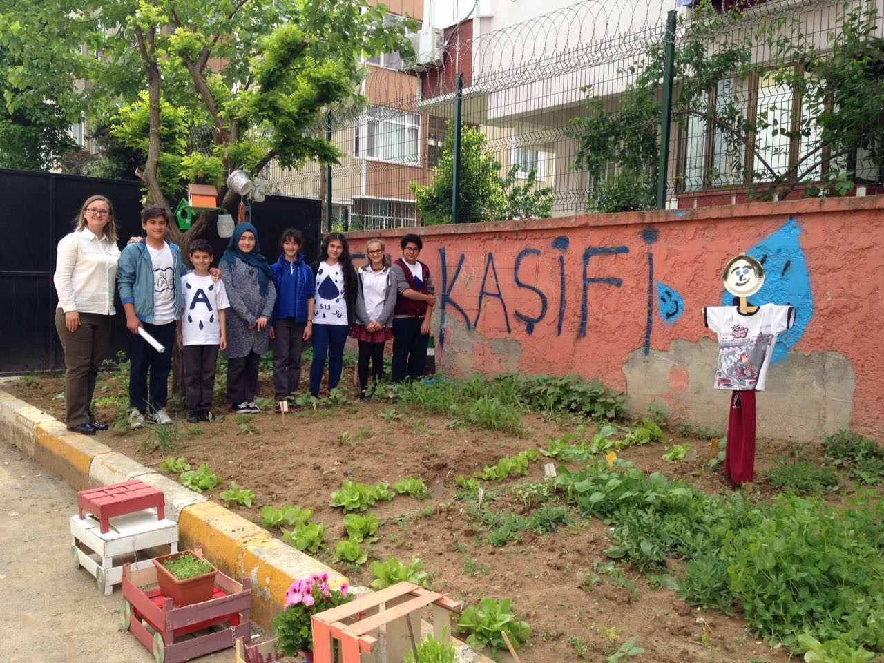 The students in their garden